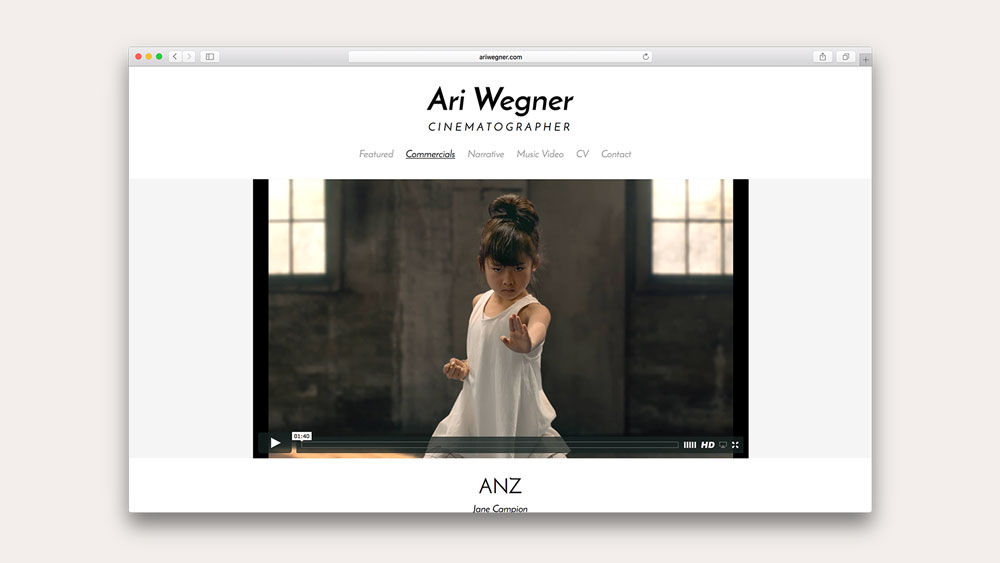 PLOT produced the website for cinematographer Ari Wegner.