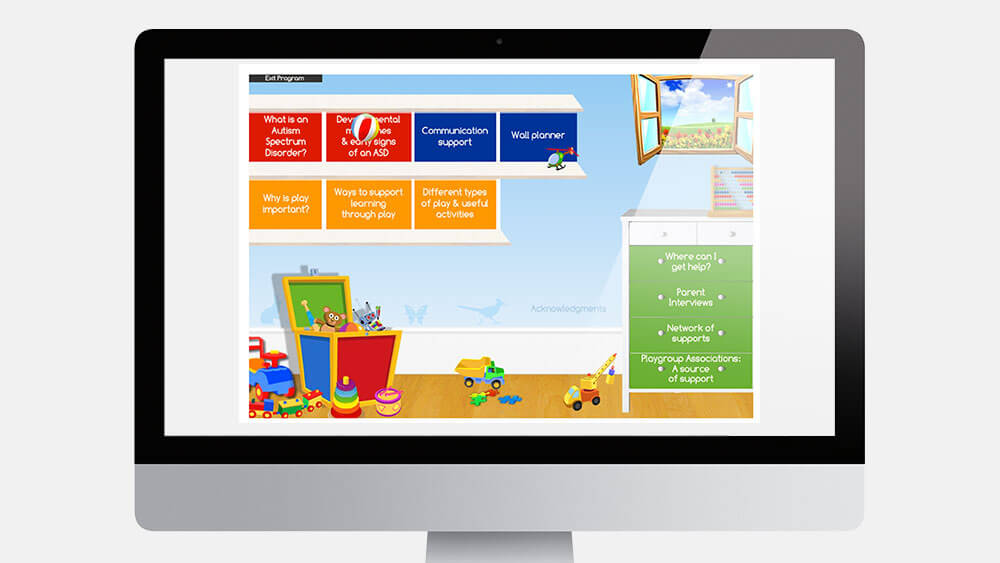 Flash application designed by PLOT Media with Autism Australia